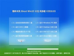 雨林木风Ghost Win10 (X32) 推荐纯净版2018V03(无需激活)